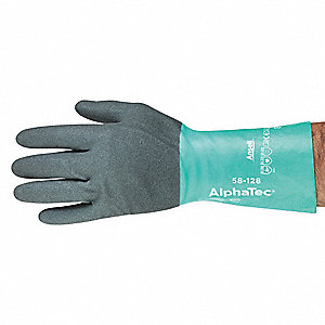 "Chemical Resistant Gloves, Size 10, 11""L, Gray/Green ,  1 PR"