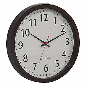 "14"" Round Wall Clock Arabic, Brown Plastic Frame"