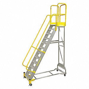 "7-Step Rolling Ladder, Serrated Step Tread, 112"" Overall Height, 500 lb. Load Capacity"