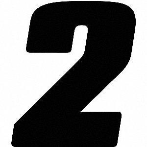Number Label,Blk,5-1/2 in. H,No. 2,PK12