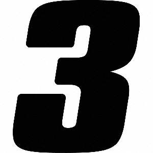 Number Label,Blk,Vinyl,7in. H,No. 3,PK12