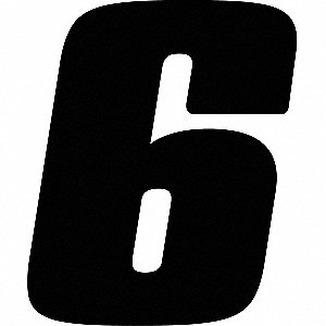 Number Label,Blk,Vinyl,7in. H,No. 6,PK12
