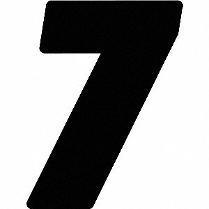 Number Label,Blk,Vinyl,7 in. H,No. 7,PK3
