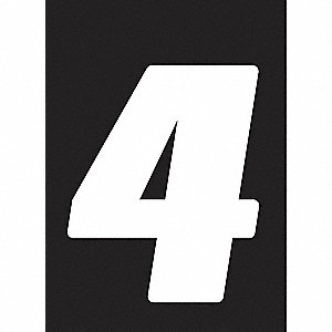 Number Label,Wht,Vinyl,7in. H,No. 4,PK12