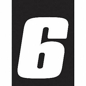 Number Label,Wht,Vinyl,4 in. H,No. 6,PK3