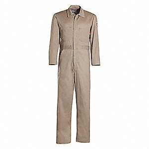 100% Cotton, FR Contractor Coverall, Size: 4XL Long, Color Family: Browns