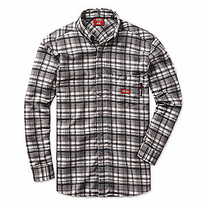 FR Dress Shirt,XL,Regular Sleeve,Gray