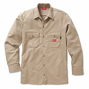 FR Work Shirt,XL,Regular Sleeve,Khaki