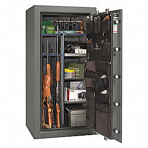Gun Safe,Granite/Chrome,7 Shelves,660lb.