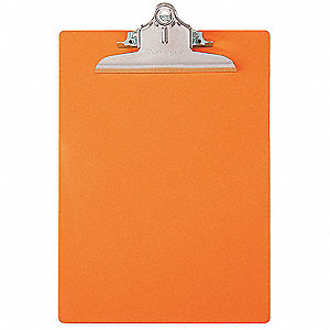 Letter-Size Clipboard with High Capacity Clip, Plastic, Orange
