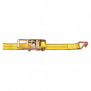 "Tie Down Strap, 27 ft.L x 3""W, 5400 lb. Load Limit, Adjustment: Ratchet"