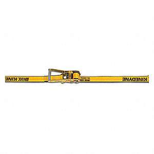 Tie Down Strap, 27 ftL x 2 inW, 3,335 lb Load Limit, Adjustment: Ratchet