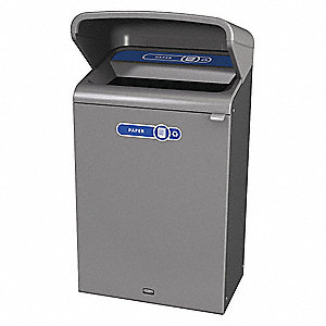 "Configure 33 gal. Rectangular Open Top Utility Trash Can, 45-7/8""H, Gray"