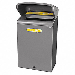 "Configure 33 gal. Rectangular Open Top Trash Can, 45-7/8""H, Gray"