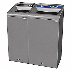 Recycle System,Rectangle,38 gal.,Gray