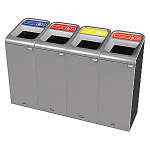 Recycle System,Rectangle,30 gal.,Silver