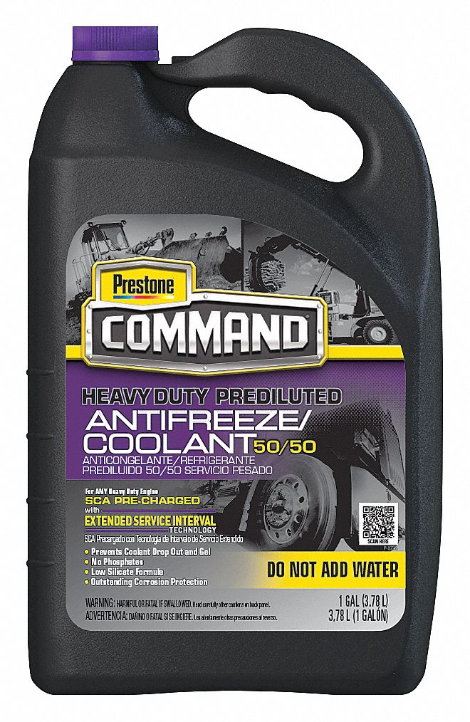 Antifreeze Coolant, 1 gal, Plastic Bottle, Dilution Ratio : Pre-Diluted, -36 °F Freezing Point (F)