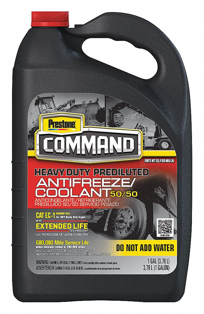 Antifreeze Coolant, 1 gal, Plastic Bottle, Dilution Ratio : Pre-Diluted, -34 °F Freezing Point (F)