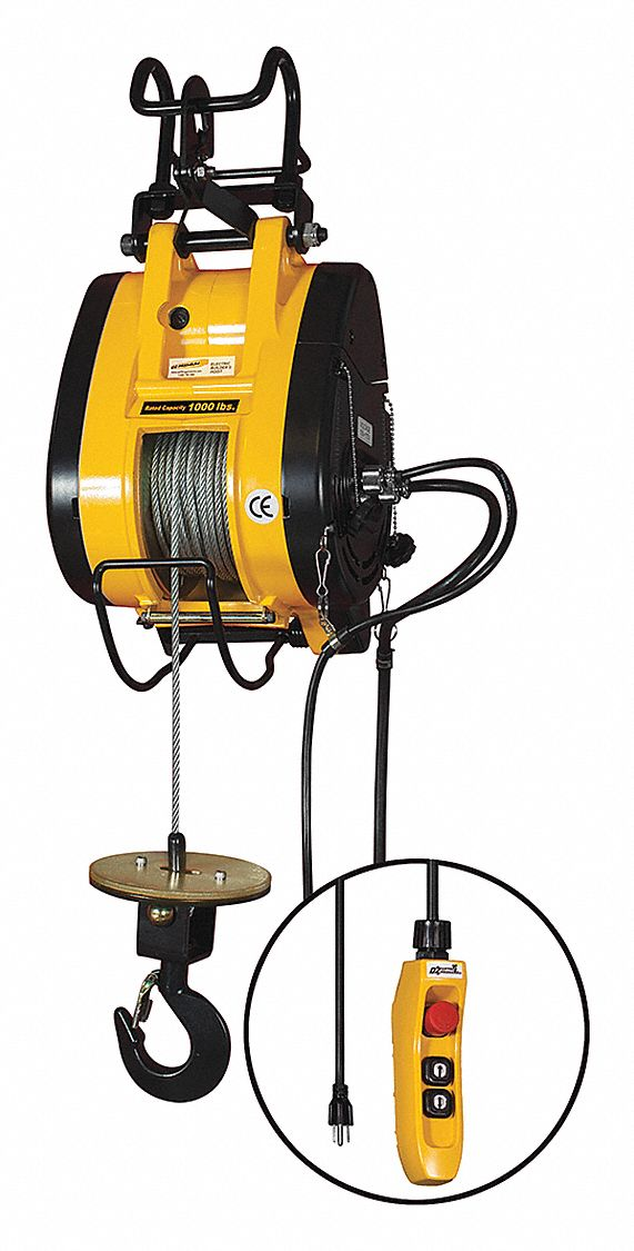 Electric Wire Rope Hoist, 1,000 lb Load Capacity, 90 ft Hoist Lift, 37 fpm Lift Speed