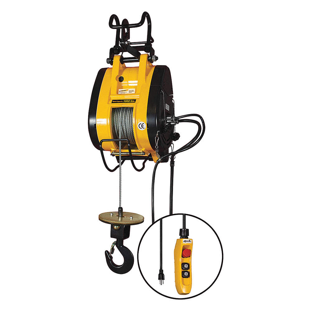 OZ LIFTING PRODUCTS Electric Wire Rope Hoist, 1000 lb. Load Capacity ...