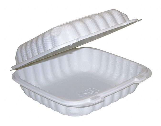 Plastic Square Carry-Out Food Container, White, 200 PK