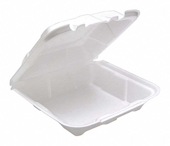 Foam Square Carry-Out Food Container, White, 150 PK