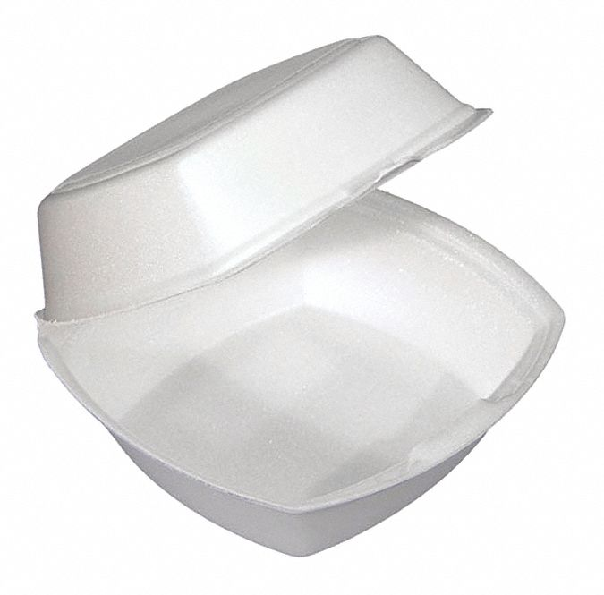 Foam Square Carry-Out Food Container, White, 500 PK