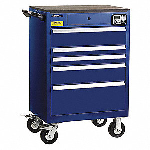 "Blue Heavy Duty Tool Cabinet, 43-1/2"" H X 29"" W X 20"" D, Number of Drawers: 5"