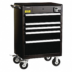 "Black Heavy Duty Tool Cabinet, 43-1/2"" H X 29"" W X 20"" D, Number of Drawers: 5"