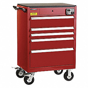 "Red Heavy Duty Tool Cabinet, 43-1/2"" H X 29"" W X 20"" D, Number of Drawers: 5"