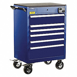 "Blue Heavy Duty Tool Cabinet, 43-1/2"" H X 29"" W X 20"" D, Number of Drawers: 6"