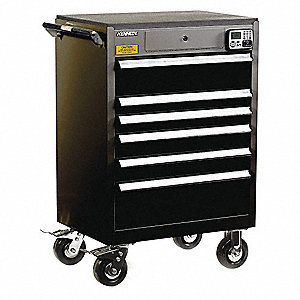 "Black Heavy Duty Tool Cabinet, 43-1/2"" H X 29"" W X 20"" D, Number of Drawers: 6"