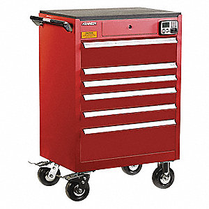MANAGEMENT CABINET,RED,6 DRAWERS,20IN.D
