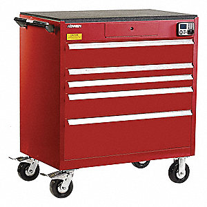 "Red Tool Cabinet, 43-1/2"" H X 39-1/4"" W X 24"" D, Number of Drawers: 5"