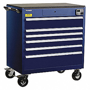 "Blue Tool Cabinet, 43-1/2"" H X 39-1/4"" W X 24"" D, Number of Drawers: 6"