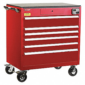 MANAGEMENT CABINET,RED,6 DRAWERS,24IN.D