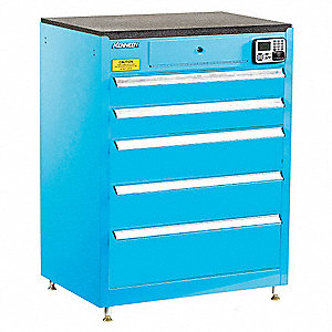 "Blue Tool Cabinet, 39"" H X 29"" W X 20"" D, Number of Drawers: 5"