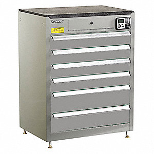 "Gray Tool Cabinet, 39"" H X 29"" W X 20"" D, Number of Drawers: 6"