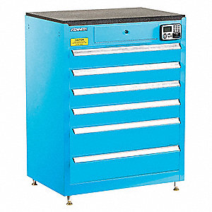 MANAGEMENT CABINET,BLUE,6 DRAWERS,20IN.D