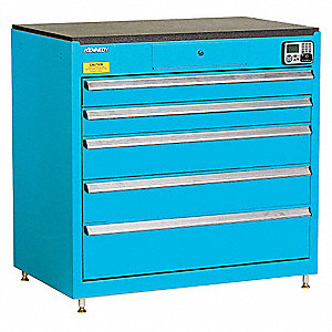 MANAGEMENT CABINET,BLUE,5 DRAWERS,24IN.D