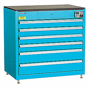 MANAGEMENT CABINET,BLUE,6 DRAWERS,24IN.D