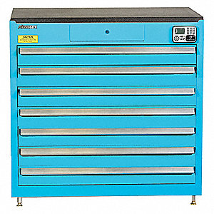 "Blue Tool Cabinet, 39"" H X 39-1/4"" W X 24"" D, Number of Drawers: 7"