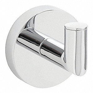 "2-3/16""H x 2""D Brushed Nickel Bathroom Hook, Includes: Mounting Hardware, Screws"