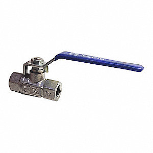"Nickel-Plated Brass FNPT x FNPT Ball Valve, Lever, 3/8"" Pipe Size"
