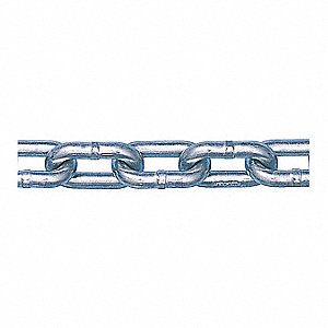 "400 ft. Grade 30 Straight Chain, 1/4"" Trade Size, 1300 lb. Working Load Limit, For Lifting: No"