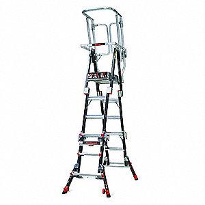 Little Giant Fiberglass Safety Cage Platform Ladder 4 To