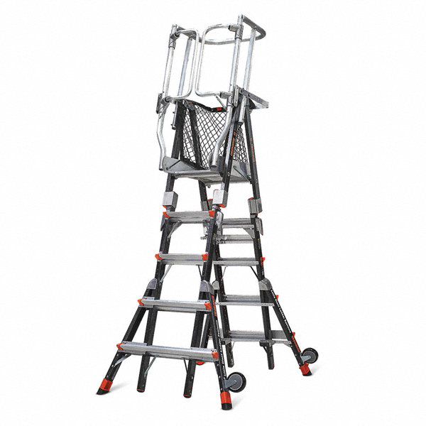 Little Giant Fiberglass Safety Cage Platform Ladder 5 Ft