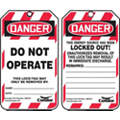 "Lockout Tag, Plastic, Do Not Operate This Lock/Tag May Only Be Removed By, 5-3/4"" x 3-1/4"", 10 PK"