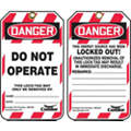 "Lockout Tag, Plastic, Do Not Operate This Lock/Tag May Only Be Removed By, 5-3/4"" x 3-1/4"", 25 PK"