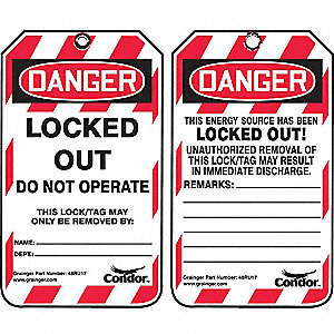 Lockout Tag, Plastic, Locked Out Do Not Operate This Lock/Tag May Only Be Removed By